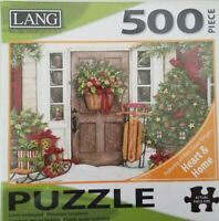 Lang® HOLIDAY DOOR 500 PCS Jigsaw Puzzle CHRISTMAS Wreath,trees, sled  24x18 NEW