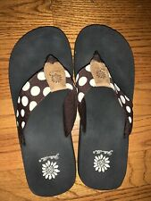 Yellow Box 7 8 Brown Polka Dot Flip Flops Sandals Slides Thongs Shoes ❤️Tw11j