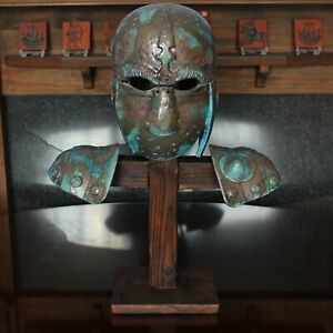 UNIQUE! Studio Pottery Ceramic Medieval Helmet & Shoulder Pads on Stand