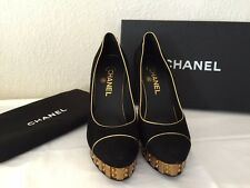 "NIB CHANEL BLACK SUEDE PLATFORM ""CC"" PUMPS GOLD HEELS ROUND TOE 38.5"