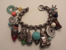 Vintage Signed Napier Multi Charm Jade Asian Theme Charm Bracelet