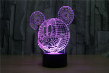 3D mickey mouse 7color optical reading led touch table night light usb home lamp