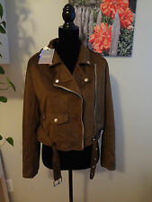 New Womens Misguided Faux Suede Long Sleeve Biker Jacket Khaki US Size 8-10