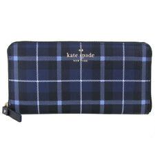 Kate Spade PWRU5133 Fairmount Square Lacey Plaid Wallet DIVER BLUE Navy NWT
