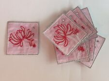Set of 10 - Embroidered Pink Flower Beaded Card Making Motifs #7E28