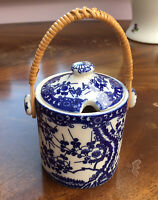 Vintage Ceramic JAM/SUGAR POT With Lid Blue & White Floral Design. Cottagecore