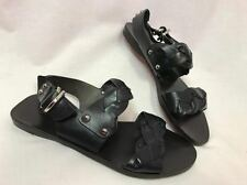 Theory Black Leather Flat Sandals, Womens Size 7, Never Worn