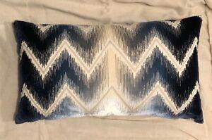 SCHUMACHER Shock Waves Blue Silk Ombre Cut Velvet Down Filled Throw Pillow New