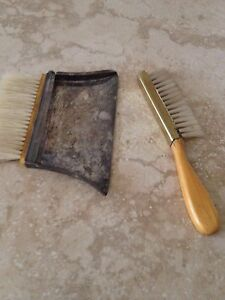 Antique Sterling Silver Brush And Silver Crumb Sweeper Tray
