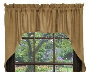 """New Primitive Country Farmhouse TAN NATURAL BURLAP CAFE SWAGS Curtains 36"""""""