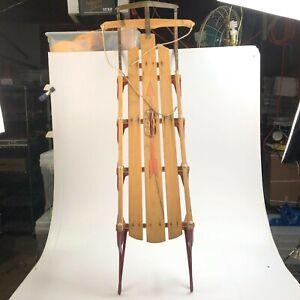 Vintage Flexible Flyer wood toboggan sled 60 inches