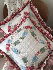 SIMPLY SHABBY QUILTED DOUBLE WEDDING RING THROW PILLOW CHIC 18X18 VINTAGE FLORAL