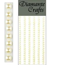 150 x 4mm Ivory Pearl Self Adesivo Strisce Righe con Strass Corpo Vajazzle GEMS