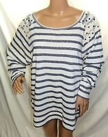 Derek Heart Women Plus Size 2x 3x Gray Ivory Striped Sweater Knit Top Shirt