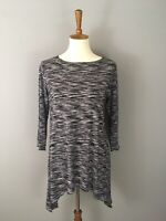 Comfy USA Jersey Knit Top Black White Handkerchief Hem Sz XS Stretchy Soft Tunic