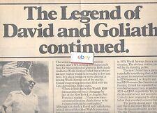 WORLD AIRWAYS THE LEGEND OF DAVID & GOLIATH 5/30/79 AD FOR SCHEDULED TRANSCON