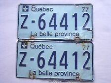 1977 QUEBEC Vintage License Plate RENTAL CAR PAIR # Z-64412