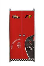 Kids F1 Car Race Racing Theme 2 Door Wardrobe Cupboard Storage Red
