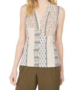 Calvin Klein Womens Blouse Beige Size PXS Petite Knit V-Neck Stretch $29 224