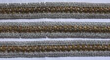 Beaded Silver Trim with Gold Beads - 2 Yards