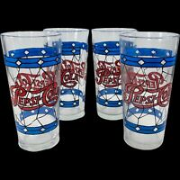 """Vintage Pepsi Cola Drinking Glasses 4 pcs 6.5""""T 3""""D Painted Crafted Glassware"""