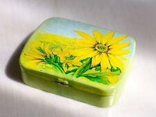 Vintage Sunflower Daisy tin metal pill box gift box made in Switzerland NOS