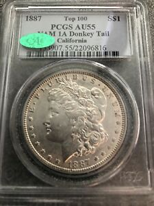 C8236- 1887 VAM-1A DONKEY TAIL TOP 100 MORGAN DOLLAR PCGS AU55 CAC