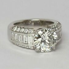 2.68Ct White Round Cut Diamond Celebrity Engagement Ring in 925 Sterling Silver