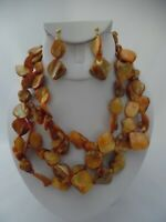 Clip on gold odd shaped stone multi strand necklace & earring set