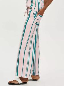BNWT Topshop Pink Stripe Pocket Wide Leg Dressy Trousers UK 8 £45