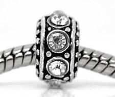 50 Antik Silber European Strass Spacer Perlen Beads B09185