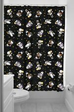 Sourpuss Kewpie Monsters Shower Curtain In Black With Rings