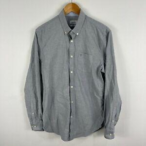 Marcs Mens Button Up Shirt Size Medium Grey Long Sleeve Collared 17.28
