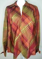 Coldwater Creek Orange Silk Blend Shirt 1X Plaid Zip Up Top NWOT Long Sleeve