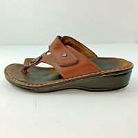 Finn Comfort Women's Size Euro 39 US 8-8.5 Sandals Thong Brown Leather Shoes