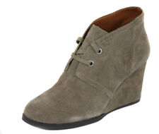 Lucky Brand Women's Brindle Seleste Suede Lace Wedge Bootie Shoes Ret $109 New