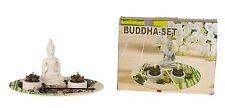 moderne Porte-bougies Décoration de table bouddha Ovale Céramique Blanche/Vert