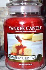 Yankee Candle STRAWBERRY CHEESECAKE 22 oz Lg JAR USA Retired Rare HTF