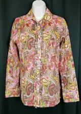 Sundance Paisley Ruffled Shirt Carnaby Street Button Front Cotton Small