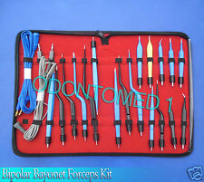 High Class Bipolar Bayonet Forceps Electrosurgical Instruments Set-odm-0074