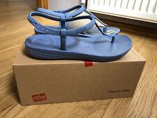 BNIB Women FitFlop Iqushion Splash Back Strap Blue Sandals Shoes ,Size 5