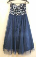 ALEX & SOPHIA Formal DRESS Size M Blue Strapless Jeweled Bodice Full Skirt Net