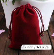 50Pcs Burgundy Velvet Square Jewellery Packaging Pouch Gift Bags 7 x 9 cm