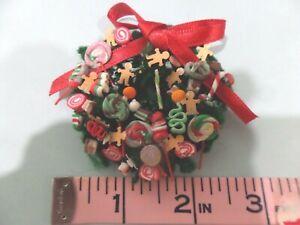 Christmas Candy Wreath Loaded Dollhouse Minis  1:12 Gailslittlestuff