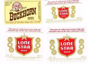 Lot of FOUR 1970s TEXAS San Antonio LONE STAR BUCKHORN BEER Labels Tavern Trove