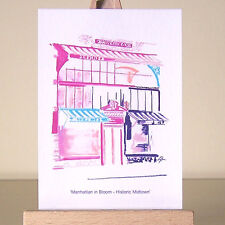 Art of pink New York City drawing Manhattan Midtown architecture cityscape ACEO