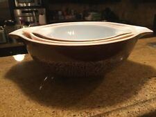 Pyrex Woodland Browns Mixing Nesting Bowl Set 3 Bowls Made in USA