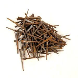 "100 Antique 2"" Square Cut Nails Rusty Original Vintage Steel Spikes Repurpose"
