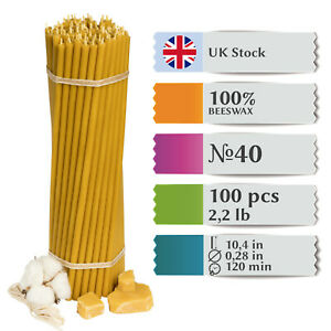 100x Pure 100% Beeswax Diveevo Taper Candles HONEY 10.4in 2.2lb N40 I UK STOCK
