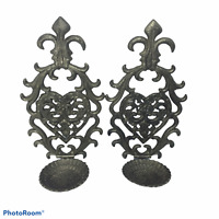 Vintage Wall Mount Candle Holders Cast Iron Set of 2